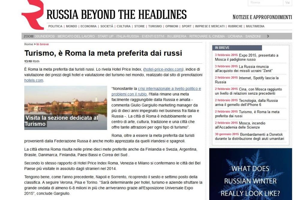 """Turismo russo a Roma: intervista a Giulio Gargiullo su """"Russia Beyond the Headlines"""" (Russia Oggi)"""