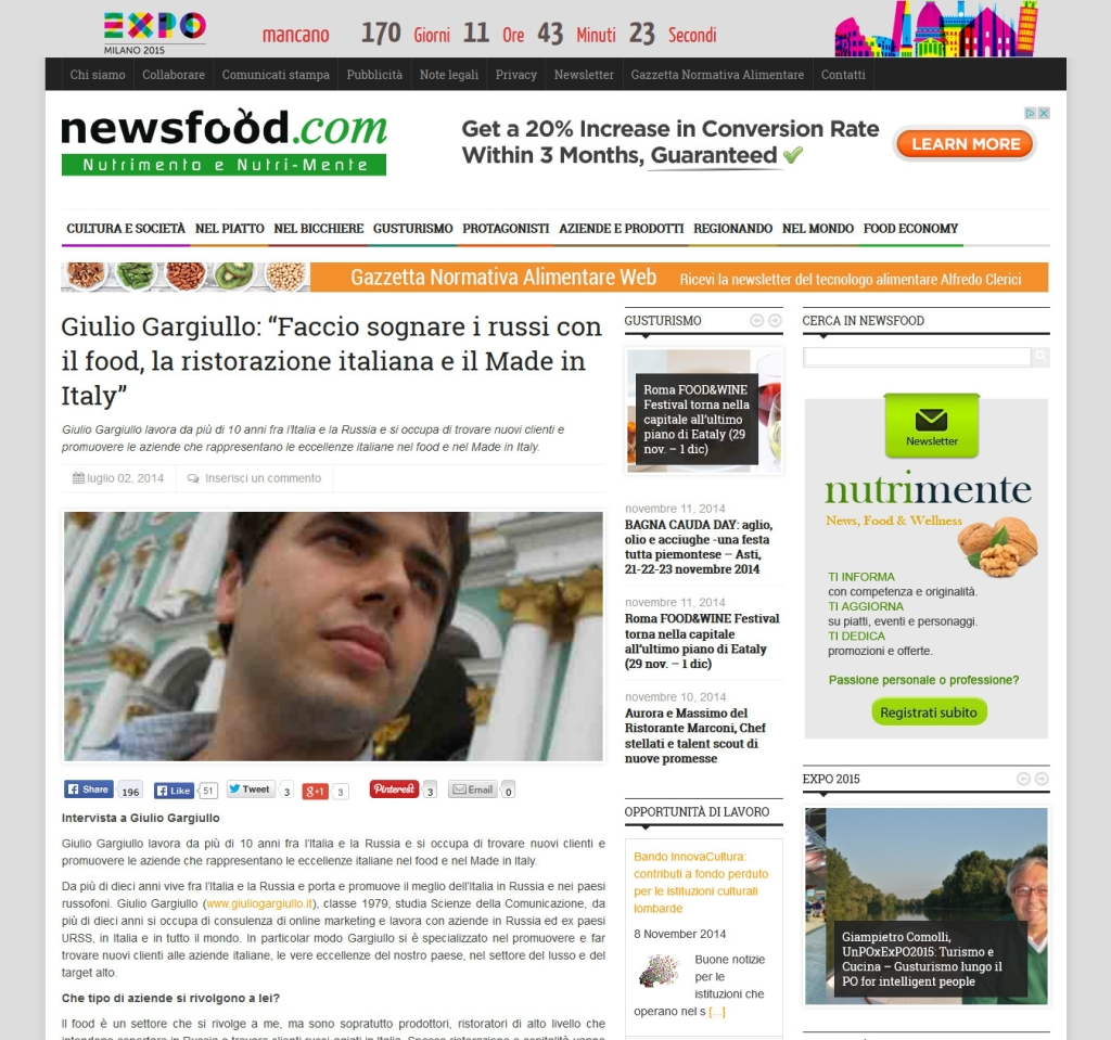 Newfood: Intervista su marketing ristoranti e food in Russia