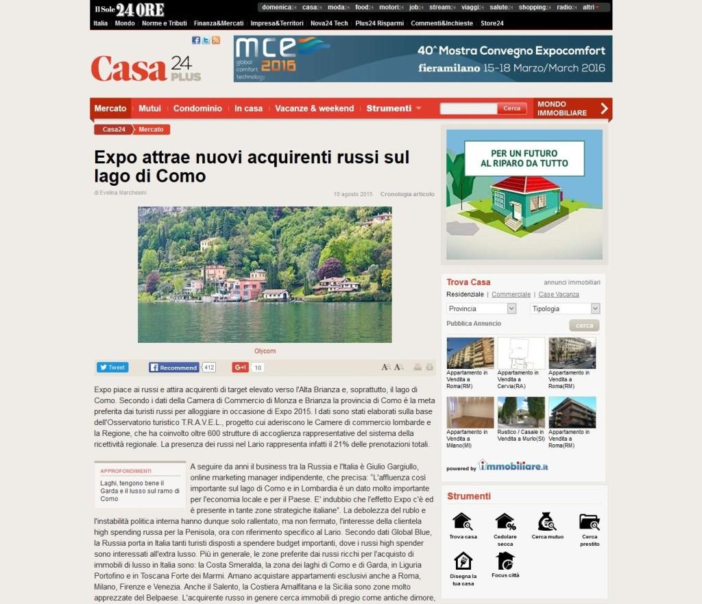 Il Sole 24 Ore riporta i dati forniti da Giulio Gargiullo su acquirenti russi di immobili di lusso sul Lago di Como.