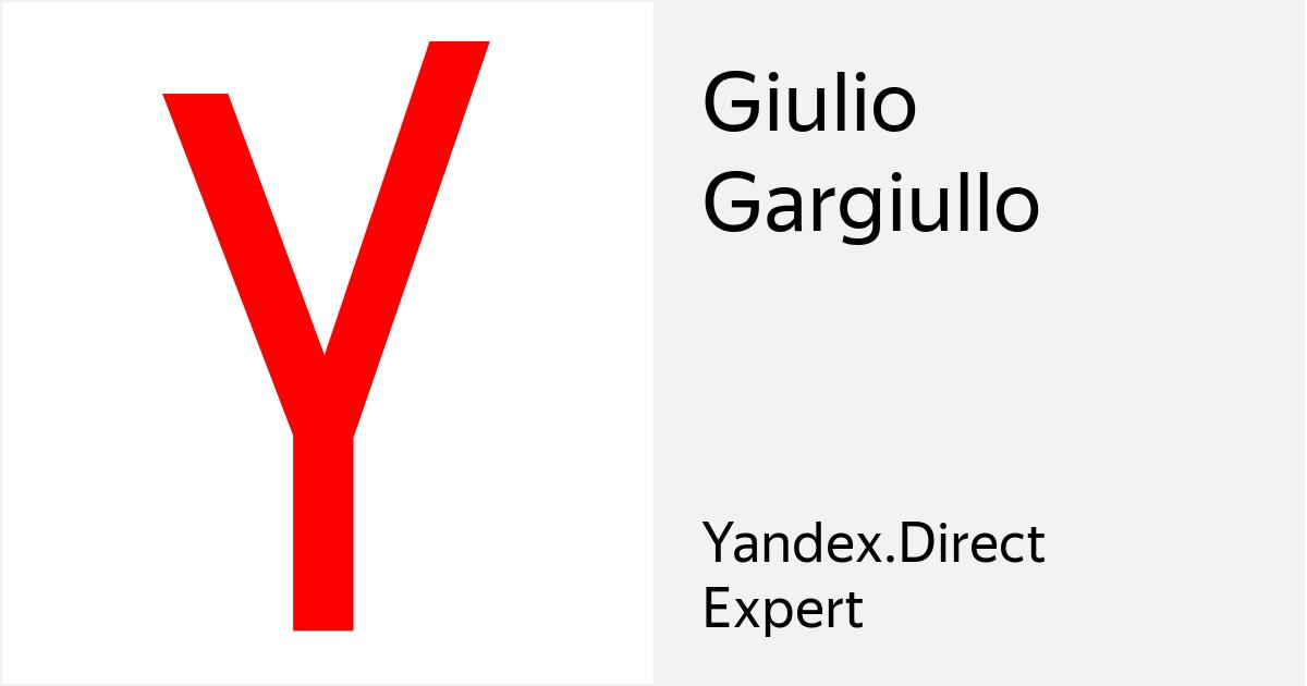 Certificazione Yandex Direct Expert: Giulio Gargiullo