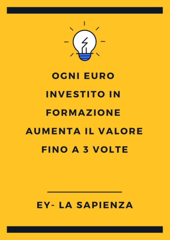 Il valore della formazione: aumenta il valore fino a 3 volte - Fonte EY Università La Sapienza